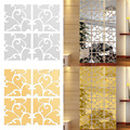 Hot Sale Removable DIY 3D Acrylic Square Gold Silver Mirror Wall Stickers Living Room Home Decoration