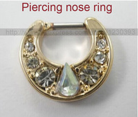Unique 316L Surgical Steel Big Gem Aztec Septum Clicker Nose Ring Stud Nose Piercing Stud Luxury