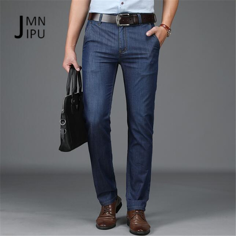 JI PU Men Jeans Business Casual Thin Summer Straight Slim Fit Blue Jeans Stretch Denim Pants Trousers Classic Cowboys Young Man
