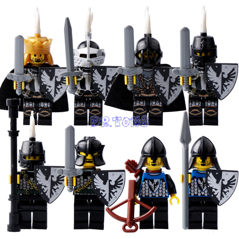DR TONG Building Blocks Medieval Castle Shadow Knight Black King Knight Heavy Shield with Weapons Figures