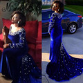 Rhinestone Long Sleeve Evening Dress Royal Blue 2016 Crystal Beaded Velvet Green Robe De Soiree Longue Sexy Mermaid Formal Gown