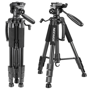 цена на Neewer Camera Tripod Portable 56 inches/142cm Aluminum 3-Way Swivel Pan Head+Carrying Bag for Canon Nikon Sony DSLR Camera