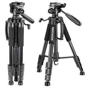 Neewer Portable 56 inches/142cm Aluminum Camera Tripod 3-Way Swivel Pan Head+Carrying Bag for Canon Nikon Sony DSLR Camera(China)