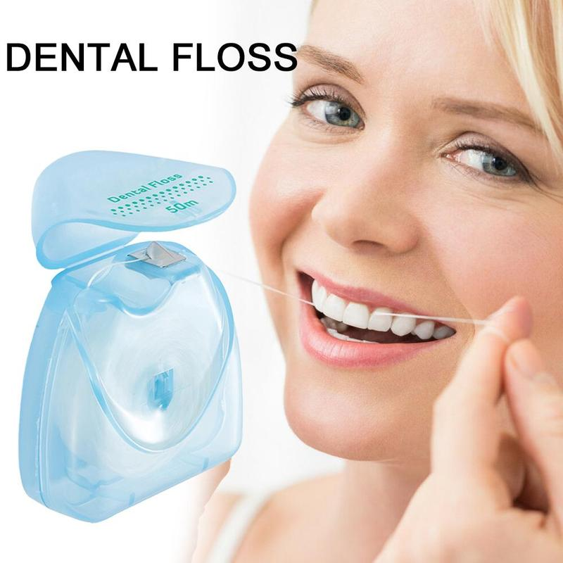 1 PCS Dental Floss 50 Meter 54 Yard Wire Floss Dental Mint Flavor Floss Pick Dental Flosser Interdental Brush Tooth Pick Stick