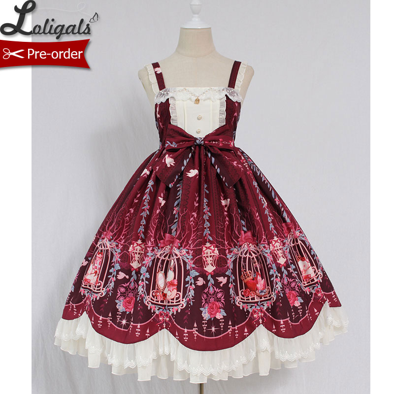 Cage in Dream Sweet Lolita JSK Dress Printed Sleeveless Party Dress by Alice Girl Pre order