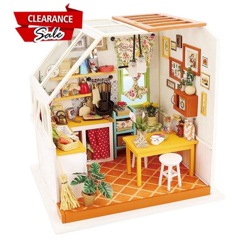 L'europe Acheteur Super Deal Robotime BRICOLAGE Cuisine de Jason Enfants Adulte En Bois Maison de Poupée Miniature Dollhouse Jouets DG105