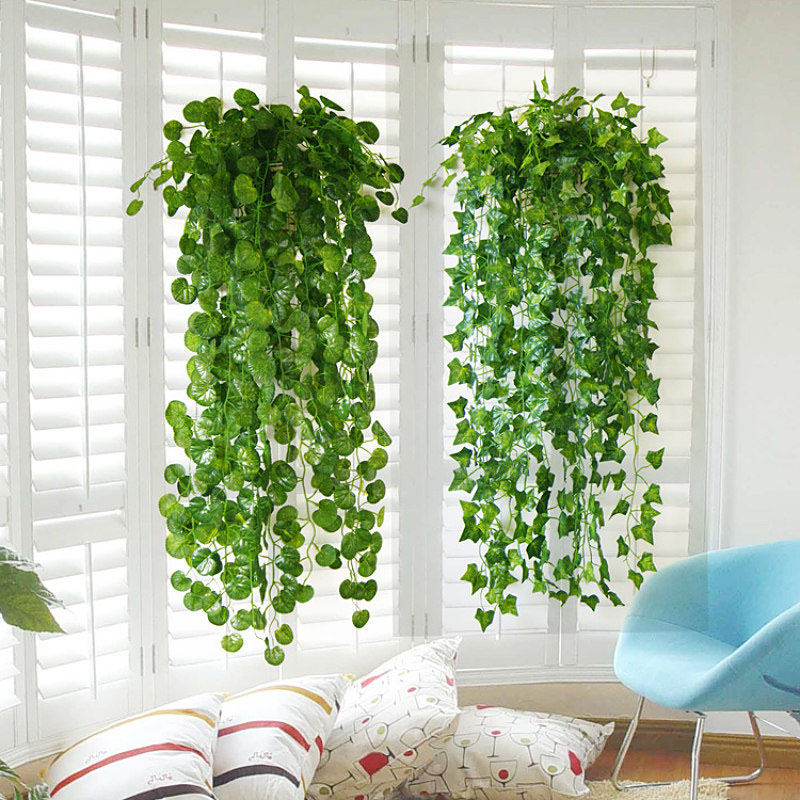 Artificial boston ivy vine string curd hanging green plant for Fabriquer cadre vegetal mural