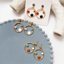 Unique new earrings Korean fashion exquisite creative and colorful color geometric circular wholesale