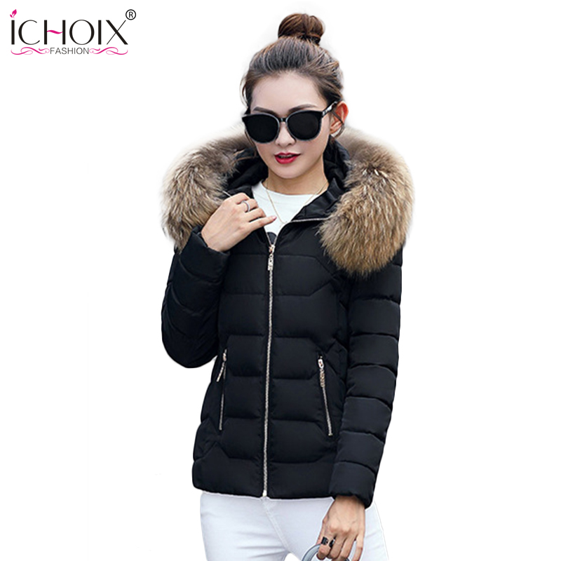2017 Winter Jacket Coat Women Cotton padded Fur Collar Parka Thick Warm Hooded Coats Ladies wadded Parkas Female Long Jackets winter women long hooded faux fur collar cotton coat thick wadded jacket padded female parkas outerwear cotton coats pw0999