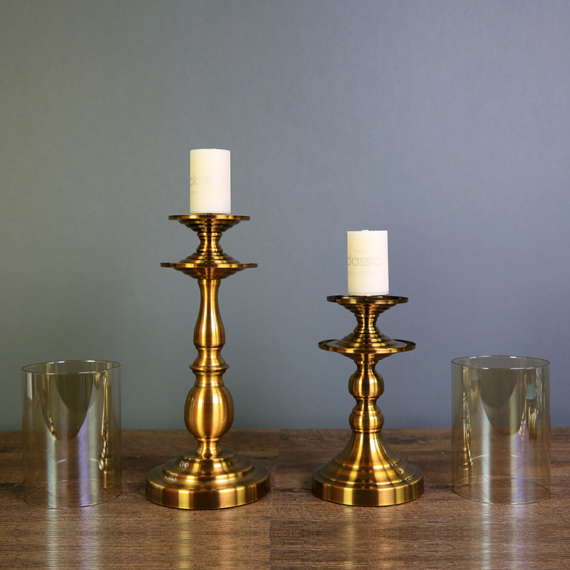 European bronze Glass Candle Holder Table romantic hotel club room decoration luxurious decorations like