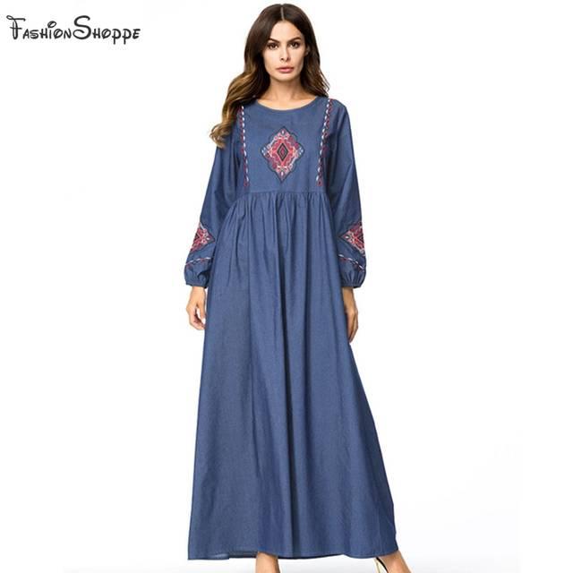 M-4XL Women Retro Long Dress Plus Size Embroidery Loose Casual Denim Long  Sleeve Maxi Dress Autumn Robe Muslim Abaya #D782