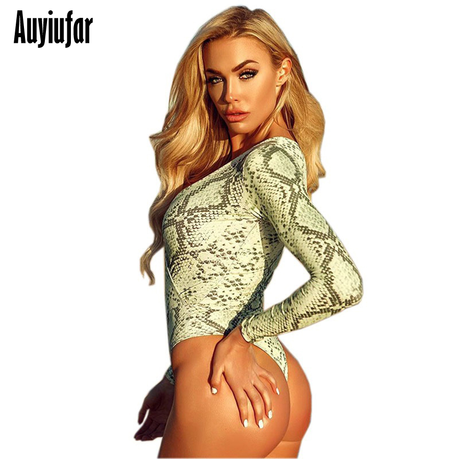 Auyiufar Green Snake Print Jumpsuit Sexy Deep V Neck Long Sleeve Bodysuit Female Rompers Overalls Sexy Costumes Woman Jumpsuit