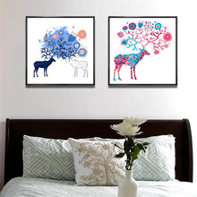 YongHe Nordic Home Decorative Oil Painting Colorful Elk Customizable Sizes Spray wall deco Frameless Poster For bedroom