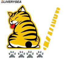 цена на SLIVERYSEA Reflective Stickers Car Stickers Cartoon Funny Moving Tail Cat Car Styling Decals Rear Windscreen Windshield Stickers