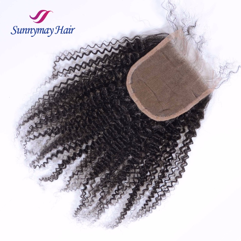 Human Hair Weaves Sunnymay 4x4 Lace Closure Afro Kinky Curly Peruvian Virgin Hair Bleached Knots Lace Frontal Closure With Baby Hair Agreeable To Taste Closures