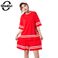 Oladivi Plus Size Casual Women Clothes Fashion Lady Tracksuit 2 Piece Suit Set T Shirt Shorts