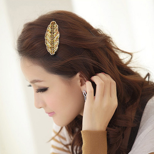 Accessories delicate leaves handmade side-knotted clip beads hair accessory pink blue green yellow