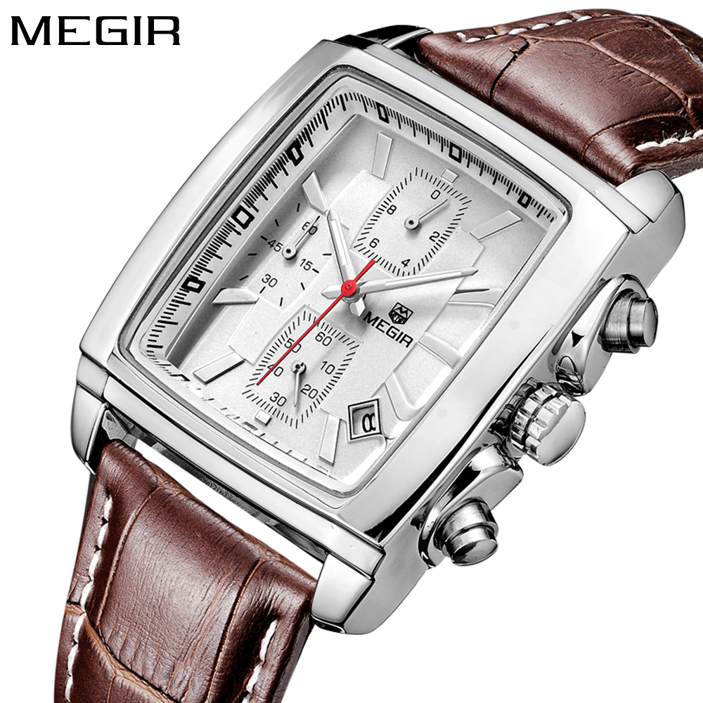 Megir rectangle Luxury Top brand Quartz Watch Men Leather business wrist Watch chronograph waterproof Quartz-watch Male ry t91 solar hand crank 42lm 7 led dynamo camping lantern lamp black