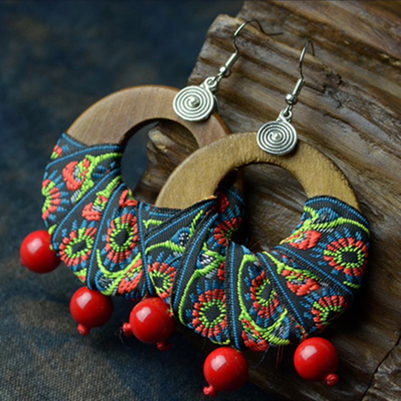 X-Large Tribal Ethnic African Asian Handmade Wooden Pear Shape Ear Studs