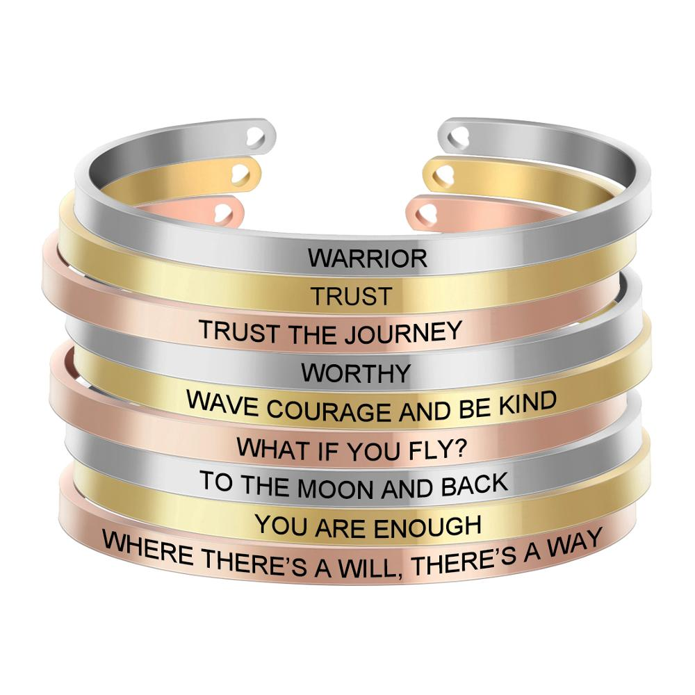 Customized Inspirational Quote Bracelets Mantra Jewelry Laser Logo Letter Bangles Arm Cuff Bangle for Women Mom Gift SL 050 in Bangles from Jewelry Accessories