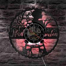 1 шт маникюрный салон маникюра гламур женщина знак светодиодный свет Виниловая пластинка настенные часы салон красоты на стену Часы Арт Декор светодиодный освещения