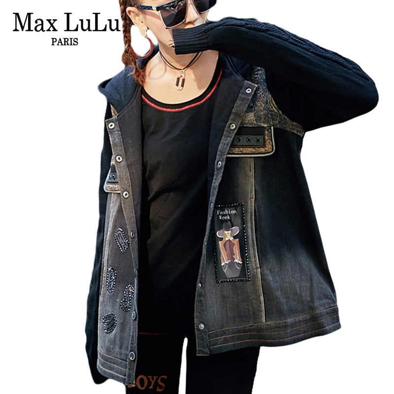 Max LuLu Luxury Japan Brand Punk Girls Knitted Clothing Womens Denim Winter Jacket Bts Hooded Woman