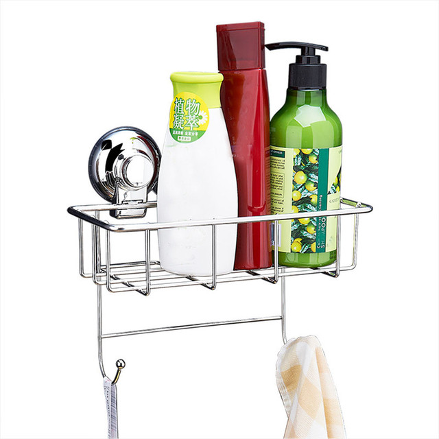 Kitchen Shower Caddy Suction Polished Stainless Steel Sucker Scrubby Holder  Hook 23.5*12.2*15cm