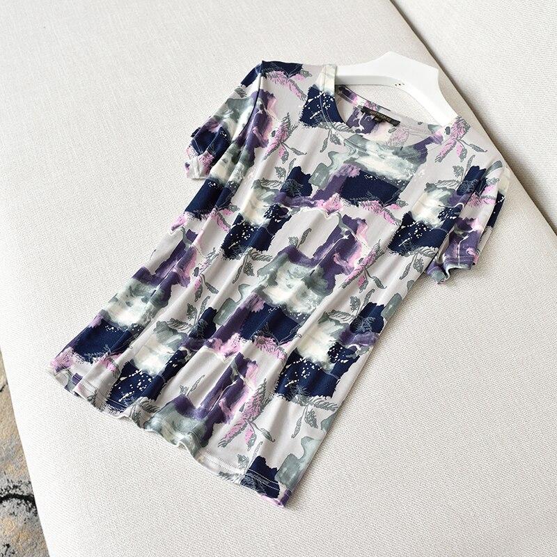 T-shirt à manches courtes en soie, Double face tricoté imprimé grande taille 100% naturel soie cravate vêtements d'été
