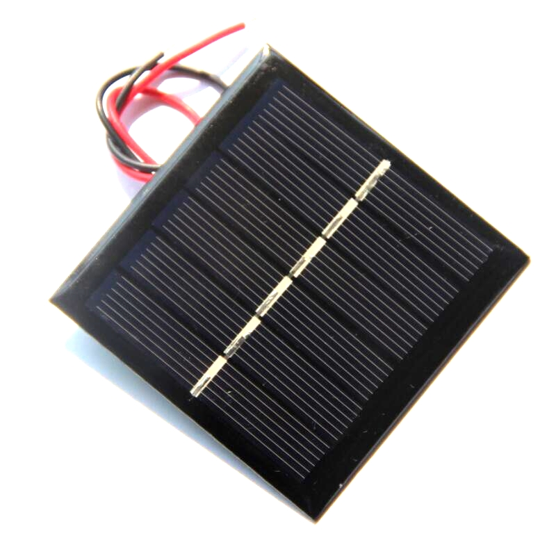 BUHESHUI 0.6W 3V Mini Solar Cell With Wire Polycrystalline Solar Panel DIY Solar Charger Battery For 2.4V Education Kits 65*65MM