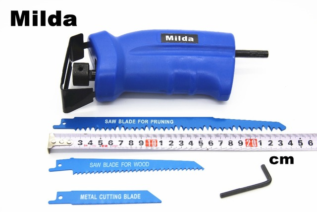 Milda 2018 new power tool accessories Reciprocating saw Metal Cutting wood Cutting Tool electric drill attachment with 3 blades 3