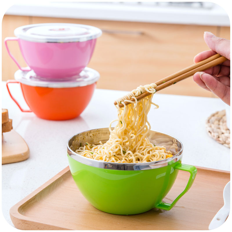 Multi-seal lid with handle stainless steel bowl of instant noodles, home fashion freshness seal soup bowl