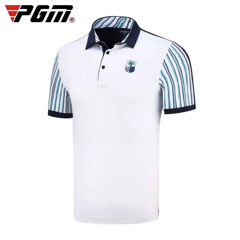 New Arrival Mens PGM Golf Training T Shirt Turn-down Collar Golf Shirts Summer Breathable Elastic Sportwear D0707