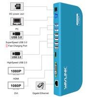 WAVLINK USB3.0 Универсальный ноутбук Док-Станция Двойной видео поддержки монитора DVI/HDMI/VGA до 2048X1152 GIGABIT ETHERNET 6 порт USB