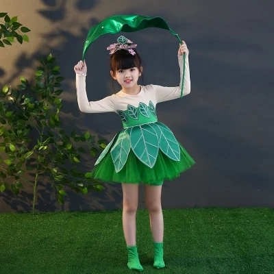 Freeship children girl green 3D leaf dance long sleeve stage performance dress fancy dress