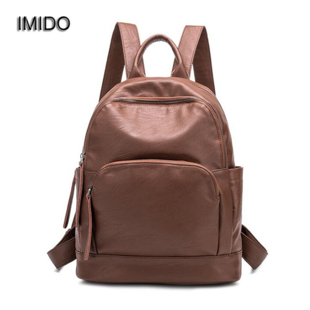 2435db0970 IMIDO Retro 2018 New Trendy Women Leather Backpack College School Bag for  Student Girls Daily Back
