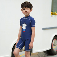 2017 children's swimwear short sleeves Pirate captain Siamese boys swimsuit sunscreen water pool beach swimming Kid bathing suit