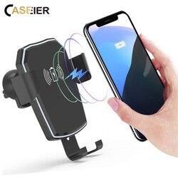 CASEIER Qi bezprzewodowa ładowarka samochodowa dla iPhone 8 X XR XS Max szybkie ładowanie dla Samsung S9 S10 uchwyt samochodowy telefon komórkowy stojak