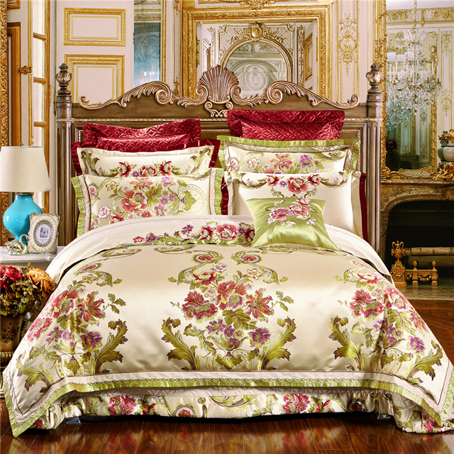 4/6/10Pcs Oriental Jacquard Luxury Wedding Royal Bedding Sets King/Queen  Size