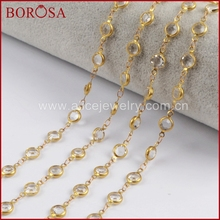 BOROSA Gold Color 7mm White Crystal Druzy Crystal Faceted Coin Rosary Chains for Necklace Drusy Chains Jewelry Finding JT197 7mm amethyst pearl rosary