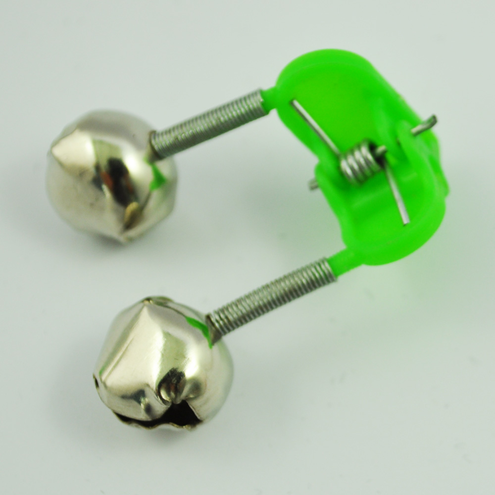 Good deal 3 Pcs Bite Alarm Fishing Rod Pole Twin Ring Bells w Clip Green ...