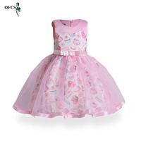 2019 New Retail Girls Ice Cream Printing Dress Princess Dress Kids Children's Party Ball Gown Birthday Christmas Costumes 3 12Y
