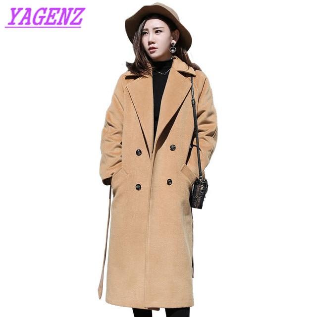 Upscale Large size Women Winter warm Woolen Jacket New Young woman Loose Long Wool coat Black Raglan sleeve wool overcoat B184