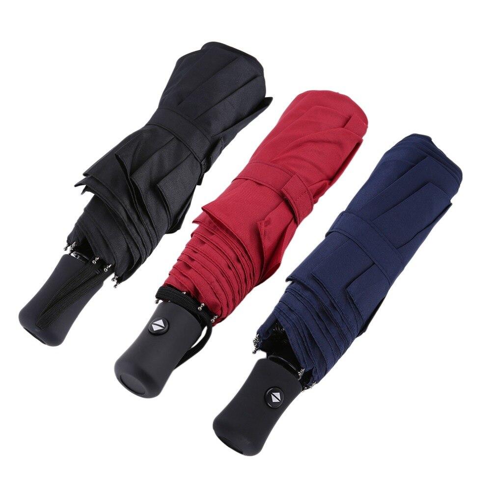 3 цвета прочный Расширенный полностью автоматическая дождь зонтик УФ-доказательство три складной Бизнес Сплошной Навес Зонтик 94*66 см