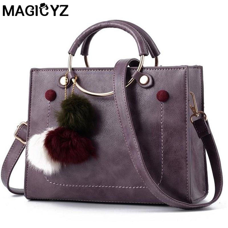 MAGICYZ Luxury Fur ball Handbags Women Bags Designer Shoulder Bags metal Ring Trunk Tote Small Bolsos Mujer Women Crossbody Bag