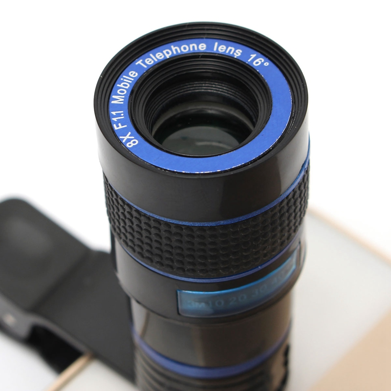 Universal 8X Zoom Optical Mobile Phone Lens Telescope Camera Lens With Clip Holder for iPhone 7 6s 6 Plus for Samsung Smartphone 4