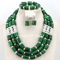 Latest Design Silver Plated Indian Wedding African Bridal Jewelry Set Women Green Coral Beads Necklace Set Free Shipping ABY808