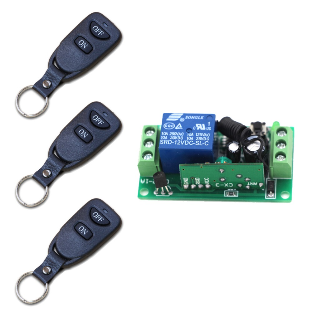 DC9V 12V 24V 1CH Wireless Remote Control Receiver Module and RF Transmitter Electric Gate Garage Door Auto Keychain Hot Sales