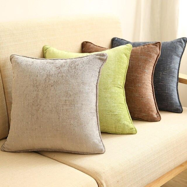 Chenille Solid Color Slub Pattern Throw Pillow Simple Modern Sofa Car Bedside Cushions Coffee Decorative