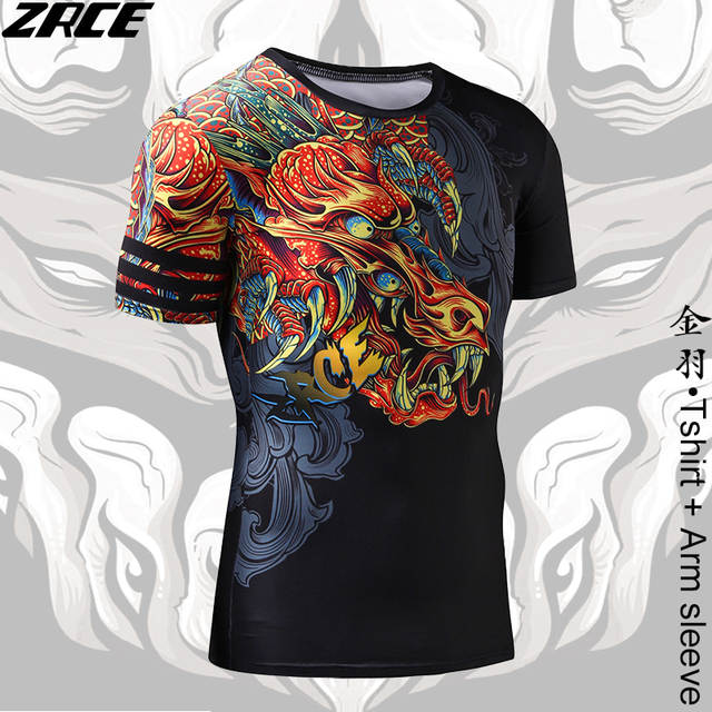 32f0767f056f Compression Shirt Chinese Style Funny t shirts Dragon Brand Clothing 3D T  shirt with Arm Sleeve Tee Shirt Homme Workout Tshirts-in T-Shirts from  Men's ...