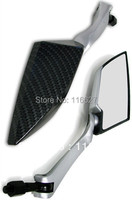 Silver CARBON FIBER Rearview Mirrors For Yamaha R1 R6 FZ Zuma Sport Bike Cruiser